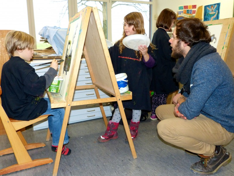 1. Unterricht von Vorstudiums-Student Gabriel in der Grundschule Heiligenberg