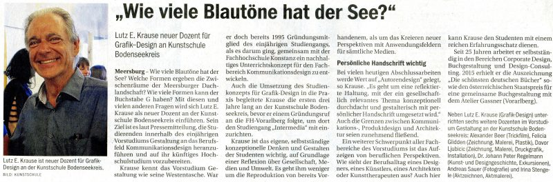 Herzlich willkommen im Vorstudium Gestaltung, lieber Lutz! Südkurier vom 17. August 2016