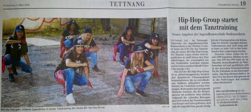 Neu: HipHop in unserem Tettnanger Tanzstudio!!